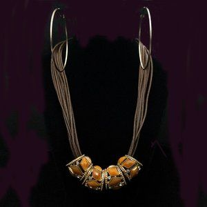 Jewelry - LARGE TAN & CRYSTAL BEAD STMT NECKLACE - JSTBRB1